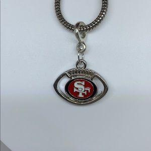 San Francisco 49ers football charm pendant